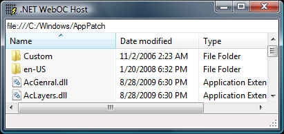 Web Browser control showing C:\Windows\AppPatch subfolder