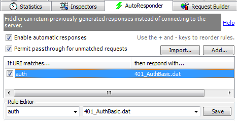 Using Fiddler's AutoResponder to demand HTTP Authentication