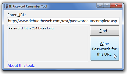 The IE Remember Password tool allows you to clear the entire password list for a specific URL.