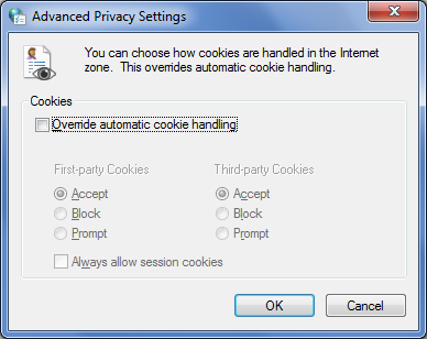 Advanced Cookie Settings Dialog