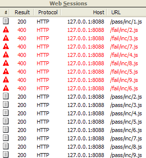Screenshot of original incorrect network traffic