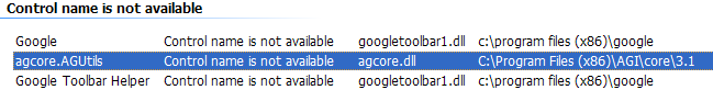 agcore.dll in Manage Add-ons